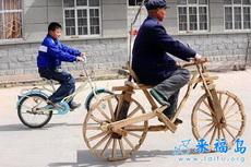 老爷爷家里穷,自己做了一辆自行车