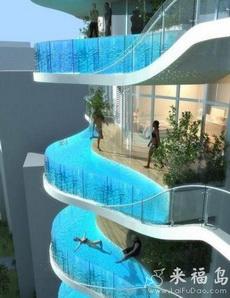 天堂一样的创意阳台游泳池