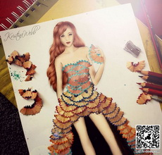 WOW! Dress made out of pencil shavings