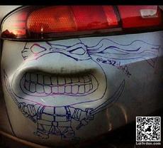 Car Dent Turned Into Ninja Turtle