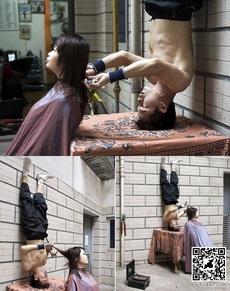倒立给你理发,你能接受吗?