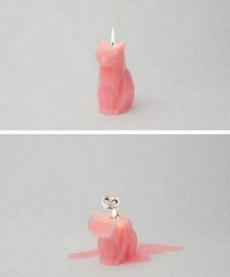 猫形状的蜡烛,这燃烧完的形状?