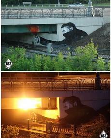 到了晚上,橋梁下方的燈光亮起之后……