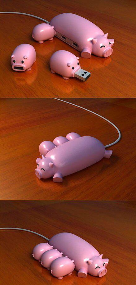 巨有爱的U盘和USB接口